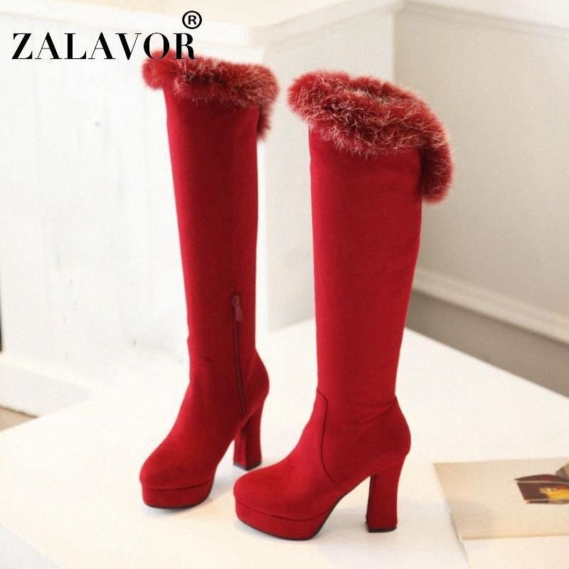 Zalavor Moda Kadın Diz Üzerinde Çizmeler Platformu Kare Topuklu Ayakkabı Kış Sıcak Kürk Yan Fermuar Kadın Ayakkabı Boyutu 33 43 Üzerinde Diz F9AQ #