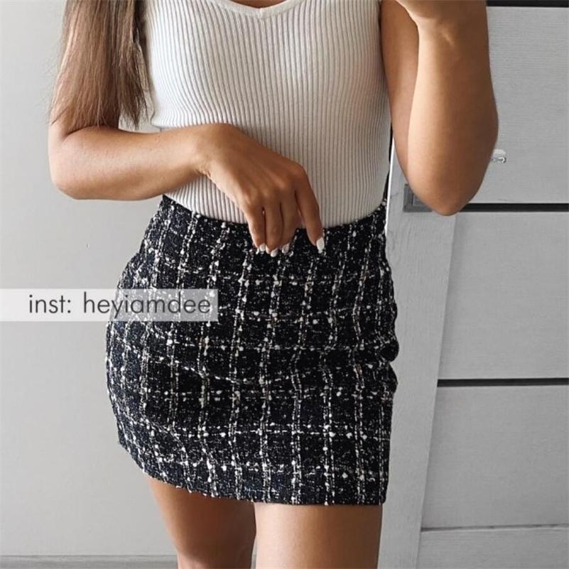 Falda de tweed negras NUEVO primavera faldas de otoño para mujer Mini falda negra 210305