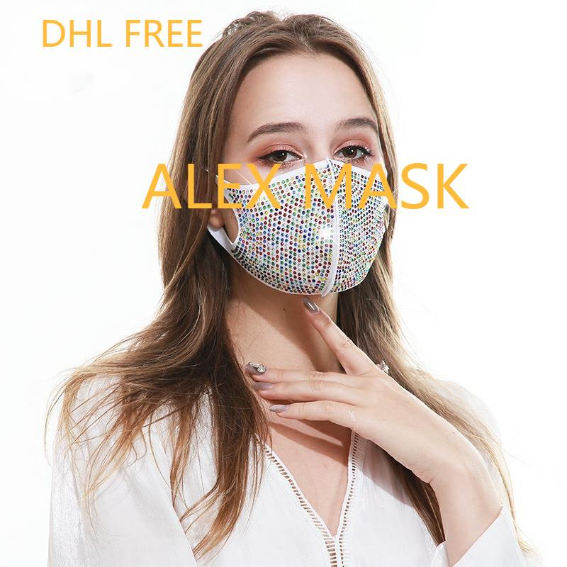 2021 designer face mask Fashion trend ice silk cotton face mask summer thin breathable dust-proof sunscreen full drill face mask