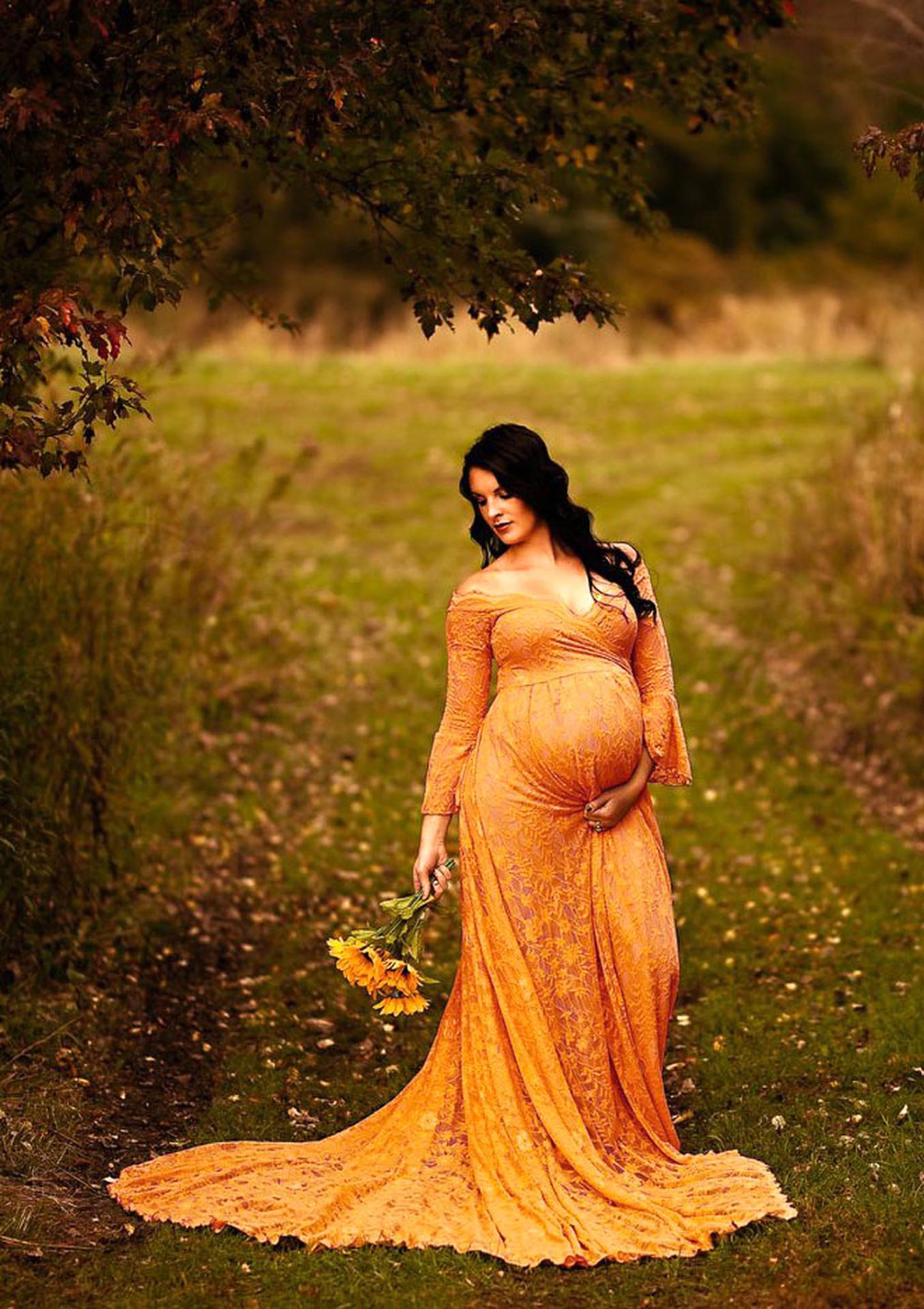 Kadın V Yaka Trompet Uzun Dantel Süper Uzun Kuyruklu Hamile kadın Yüzer Tulum Uzun Etek Fotoğraf Elbise 1120