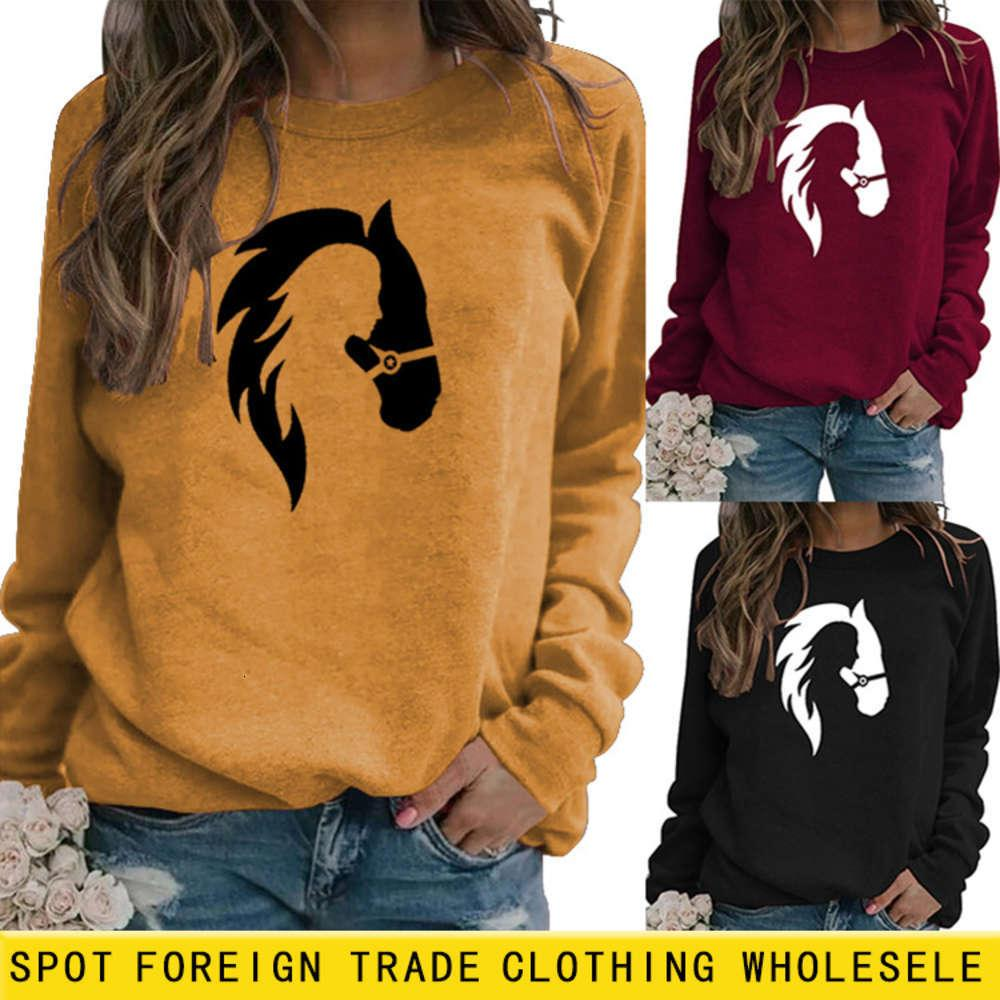 2021 мода лошади печать круглые шеи пуловер с длинным рукавом верхний дно повседневный свитер для женских толстовок