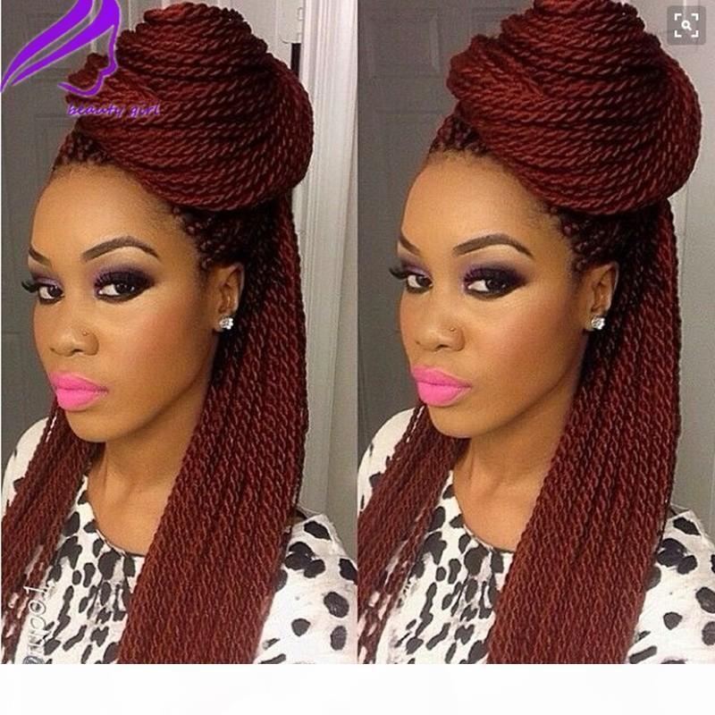 Длинные бразильские полные кружева передние парики боргундия бордовый цвет коробка парик для черных женщин синтетические волосы микро хавана крутить парики