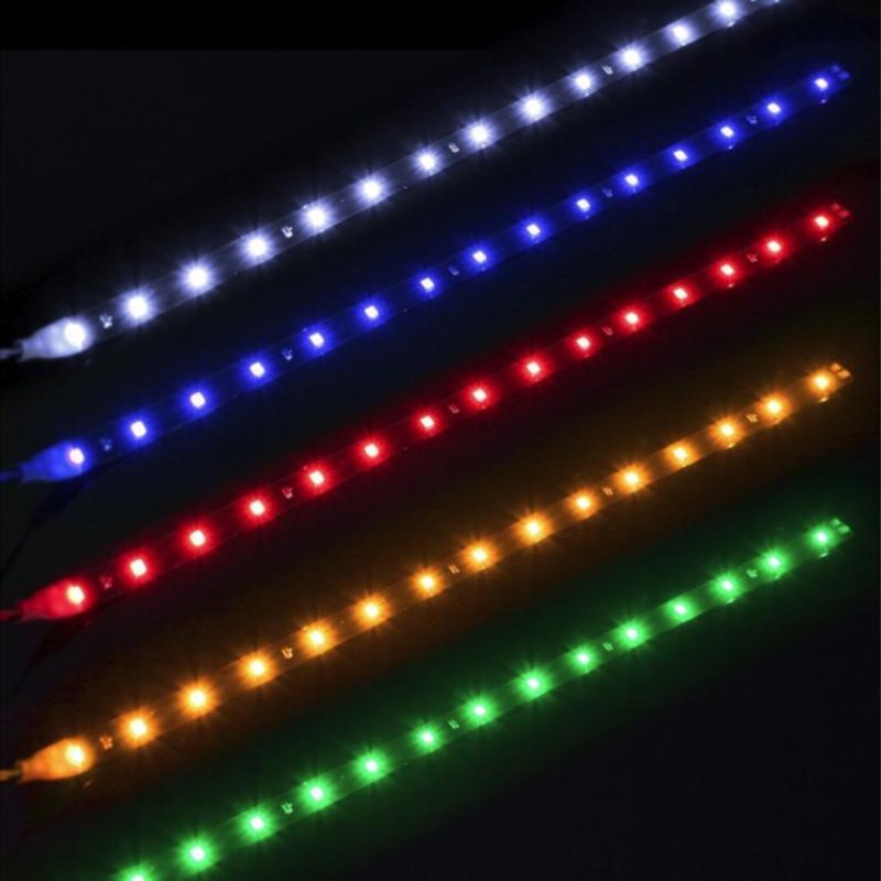 Атмосфера светло-декоративная лампа светодиодный гибкий полосовой свет 5050 SMD 12V DC автомобиль домашнего декора 30 см легкий автомобильный продукт автомобильные аксессуары