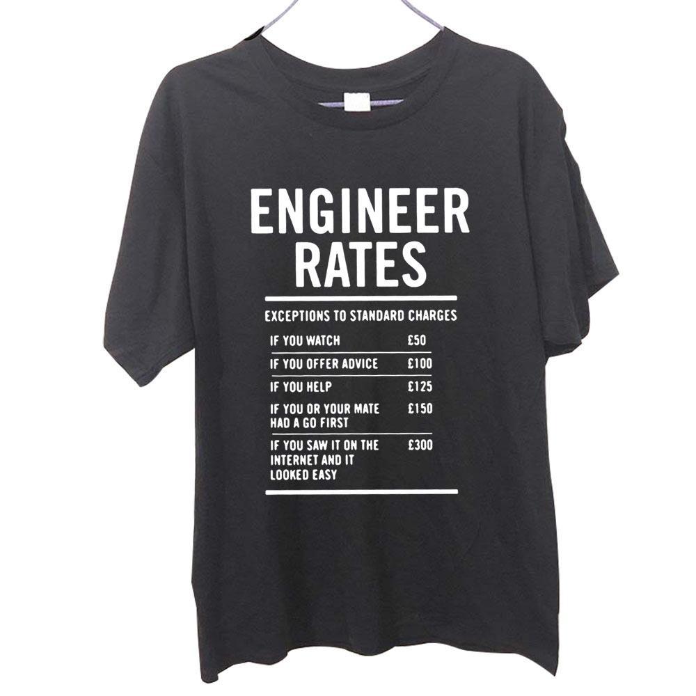Ingénieur Taux de travail Hommes Funny Funny Pères Daad Papa T-shirt imprimé T-shirt Hommes T-shirt Grand cadeau T-shirt T-shirt Tee Unisexe 210301