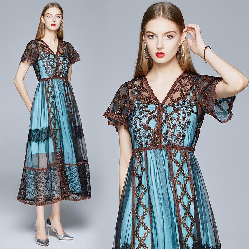 Новые 2021 моды лепесток рукав платья взлетно-посадочных полос плюс размер летняя осень сетка см. Через сексуальную тонкую женскую одежду Офис офисные дамы дизайнерское платье