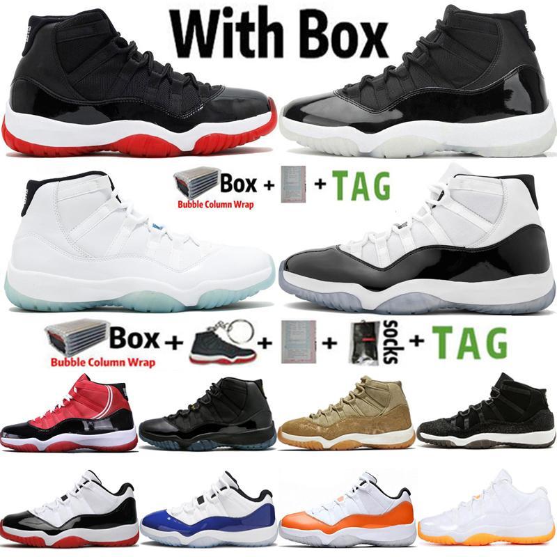 2021 Kutusu ile Factory_Footwear Jumpman 11 OG 25th Yıldönümü UNC Concord 45 Cap ve Kıyafeti 11 S Erkek Basketbol Ayakkabı Kadın Sneaker Eğitmenler Boyutu 36-47