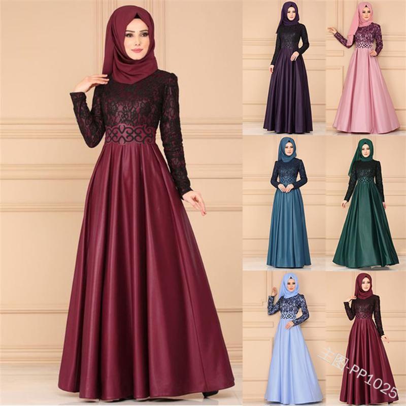 캐주얼 드레스 Lugentolo 여성 드레스 이슬람 솔리드 레이스 스티치 레트로 긴 소매 슬림 라운드 넥 바닥 길이 6 컬러 플러스 사이즈 5XL