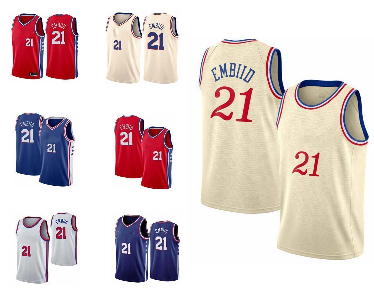 Erkekler Joel Embiid Basketbol Formaları Anahtar Oyuncular için Salıncak ve İşlemeli Basketbol Formaları.