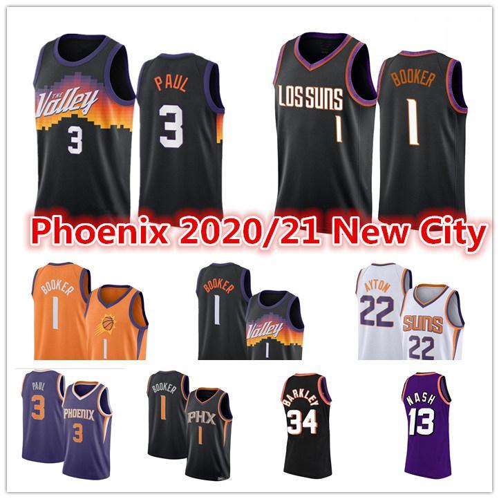 Erkekler Chris 3 Paul Devin 1 Booker Jersey Deandre 22 Ayton Steve Charles Nash Barkley GüneşleriŞehir Siyah Baskı Basketbol Formaları