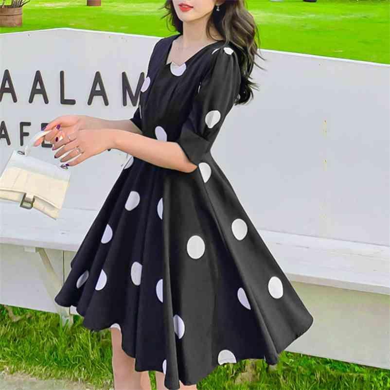 Vintage Polka Dot Imprimer Robe de bandage Décontracté Summer Knee Party Dresse Élégante Swing Robe Vestido de Mujer 210602