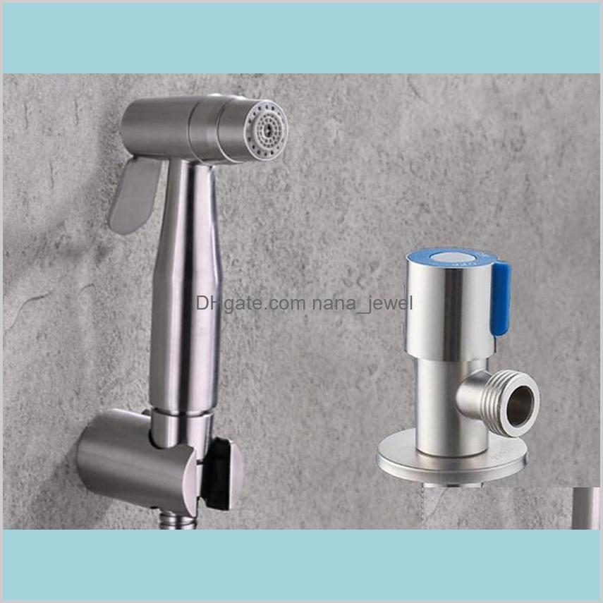 Shipping Stainless Steel Two Function Toilet Hand Held Bidet Diaper Sprayer Shower And Stainless Steel Angle Valve Bd888 Pdcyk 3Zbi5