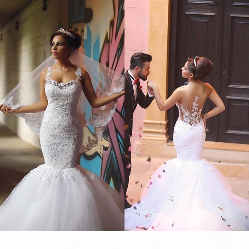 2021 인어 웨딩 드레스 스파게티 스트랩 페르시 크리스탈 레이스 Applique 섹시한 환상 백 스윕 기차 정원 웨딩 가운 Vestido