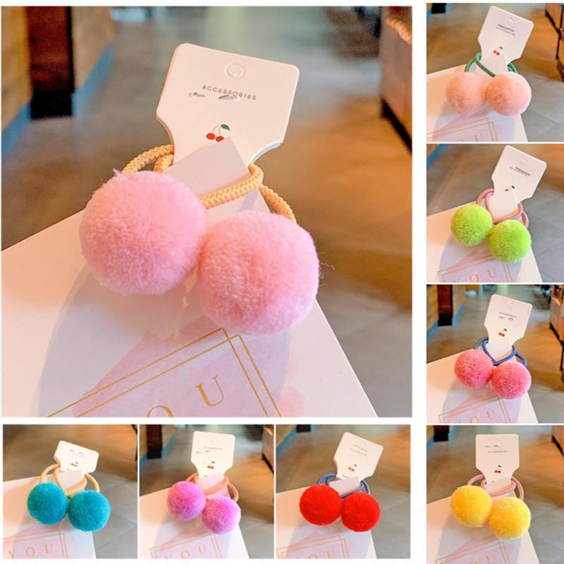 Аксессуары для волос 5PAIR / Лот детей Детские дети Эластичные полосы Связей с шариками для малышей для девочек плюшевых канатов