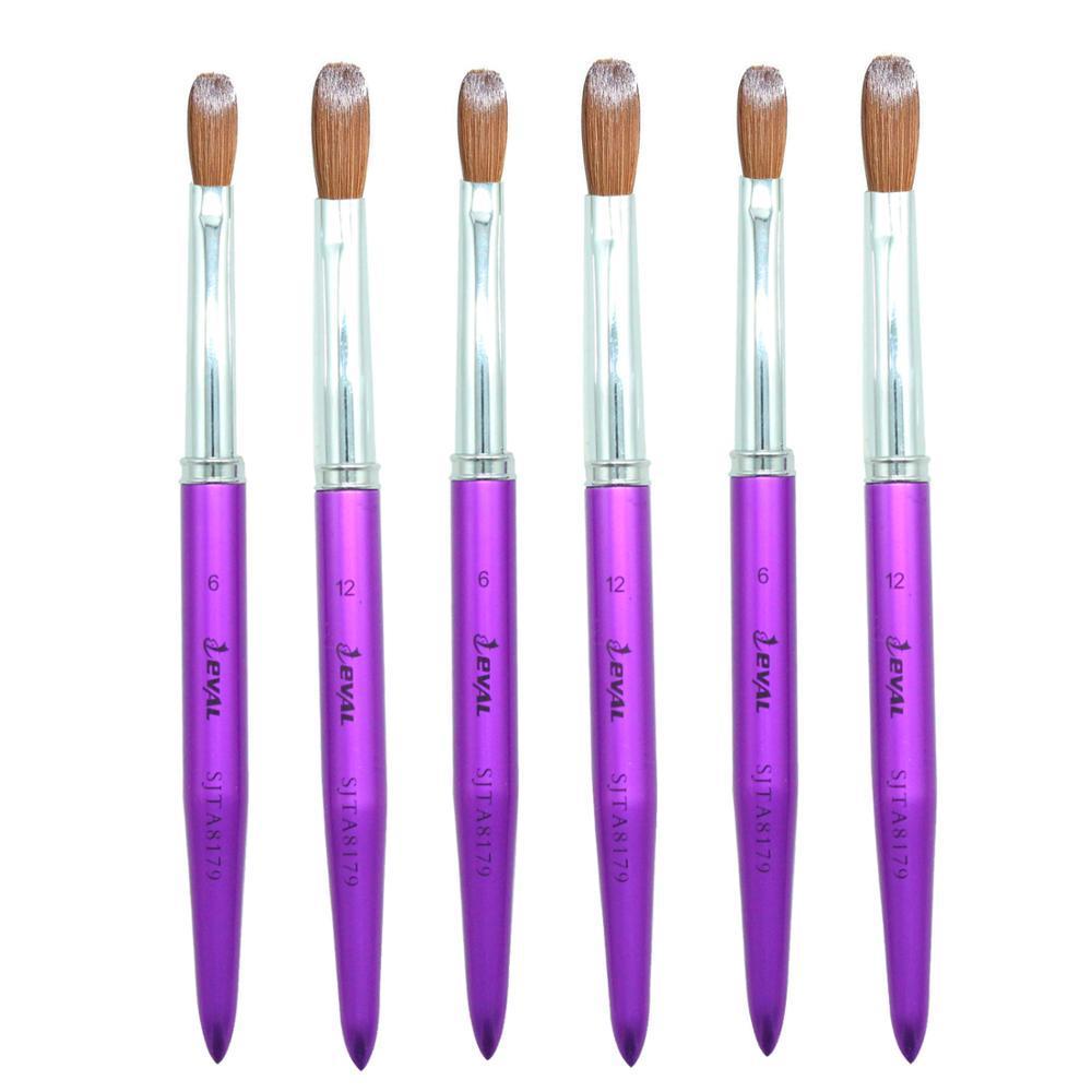 Değer 1 adet 100% Kolinsky Sable Saç Akrilik Tırnak Fırçası Profesyonel UV Jel Sıvı Toz DIY Tırnak Çizim Araçları # 6 # 12