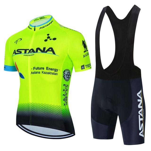Новый 2021 Yellow Astana Cycling Team Jersey 19D Bike Shorts Set быстрой сухой мужской велосипедной одежды команды Pro Bike Maillot Culotte