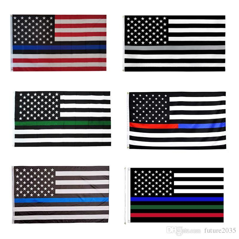 US Flags Blue Stripe Police Flag 8 Colors American United States Stars USA Garden Supplies 90*150CM