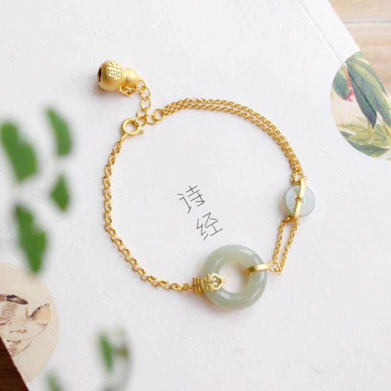 Link, Kette 925Silver vergoldetes Armband für Frauen Luxus Schmuck Hetian Hetianjade Antique Gourd Doublejade vergoldet Geburtstagsgeschenk