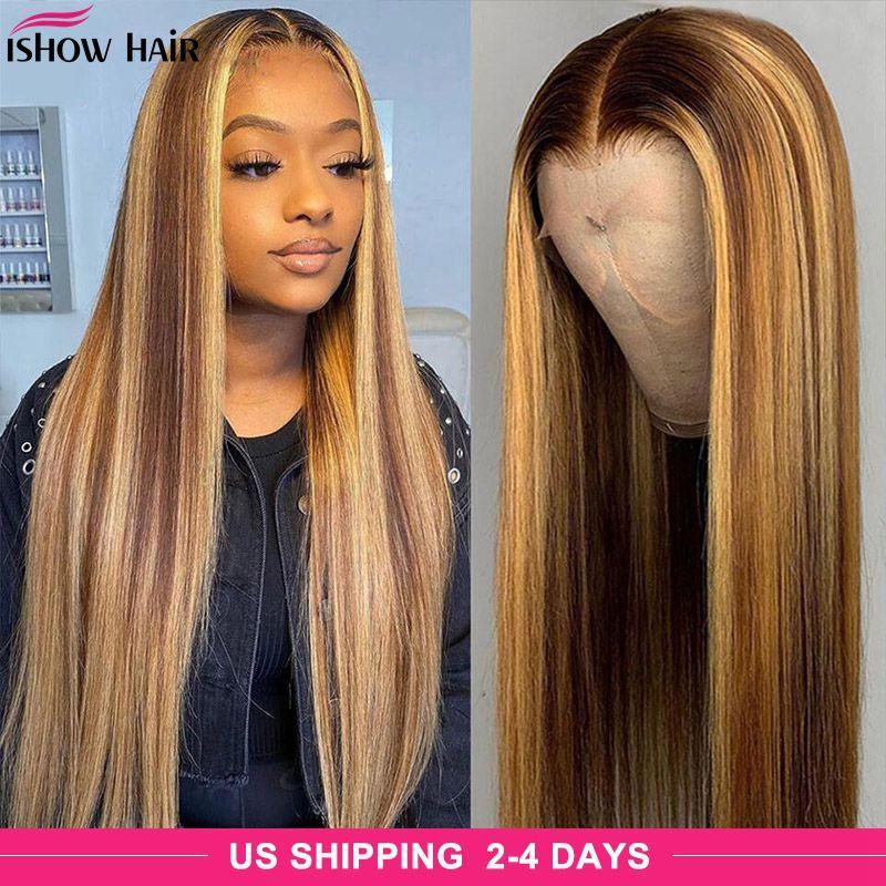Hishow Highlight P4 / 27 прямые волосы для волос человека 28 32 34 40 дюймов Омбер предварительно сорванные 4x4 закрытие кружева передний парик цветной оммре тела свободная глубокая волна