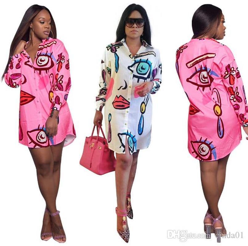 Мода Повседневные платья Женщины Стильная Печатная рубашка Платья Свободные Мини Повязка Плюс Размер Одежда