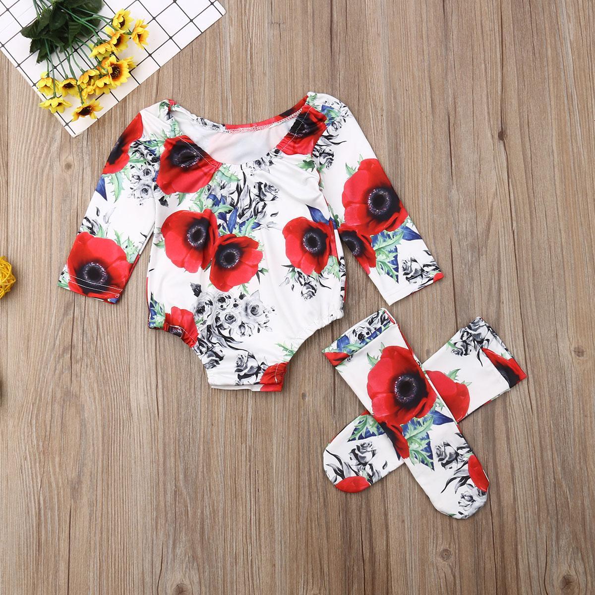 2 Stück Set Neugeborene Baby Kleidung Kleinkind Mädchen Rote Rose Blume Langarm Body +1 Paar Lange Socken Mädchen Outfit