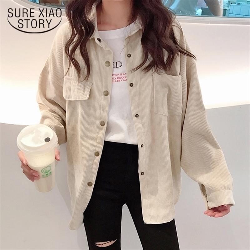 Blusa Blouse Сплошная рубашка Мода Женщина Вельверов Куртка Однобортный Ударный Воротник С Длинным Рукавом Карманный Корейский Стиль 11382 210225