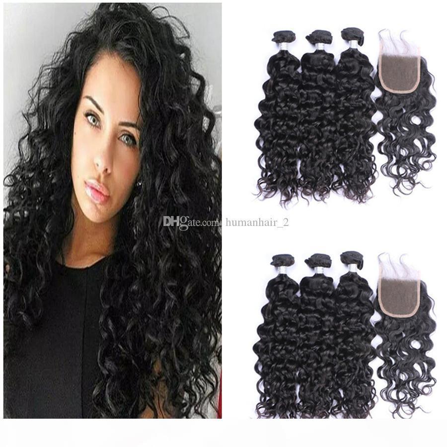 Бразильская глубокая волна девственница волос 3 пакета с кружевной закрытием человеческих волос наращивание волос перуанские малайзийские индийские пакеты волос с кружевным закрытием