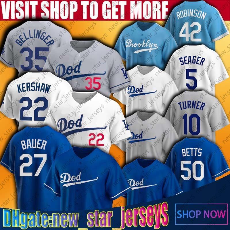 27 Trevor Bauer 50 Mookie Betts Jersey Los Özel Beyzbol Angeles Cody Bellinger Formalar Mookie Betts Justin Turner Corey Seager Jersey