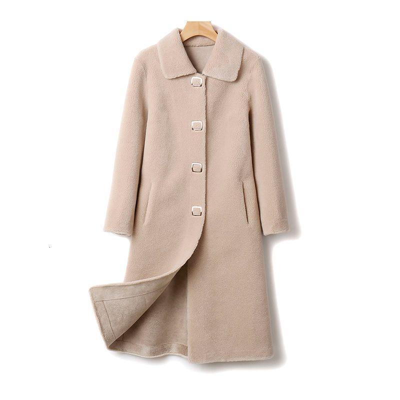 Kadın 2021 Sonbahar Yeni Ince Gerçek Koyun Öksürük Kadın Kürk Ceket Bayanlar Hakiki Yün Cilt Dış Giyim Y139 R3JU