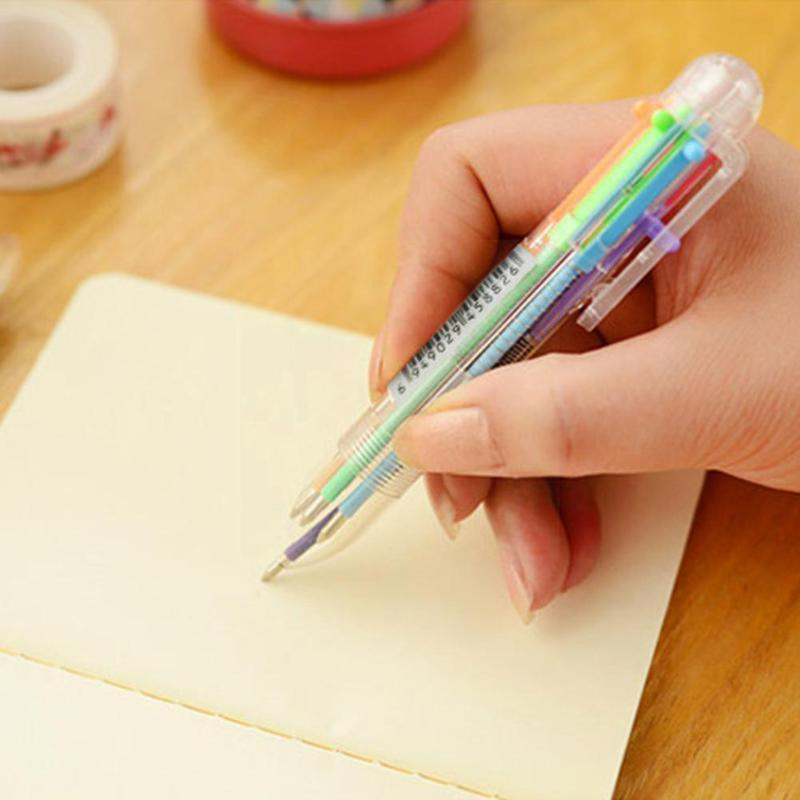 Ballpoint Pens 6 In 1 Multicolor Pen Novelty Oil Student Supplies School Six Color Stationery Press Office S2p7