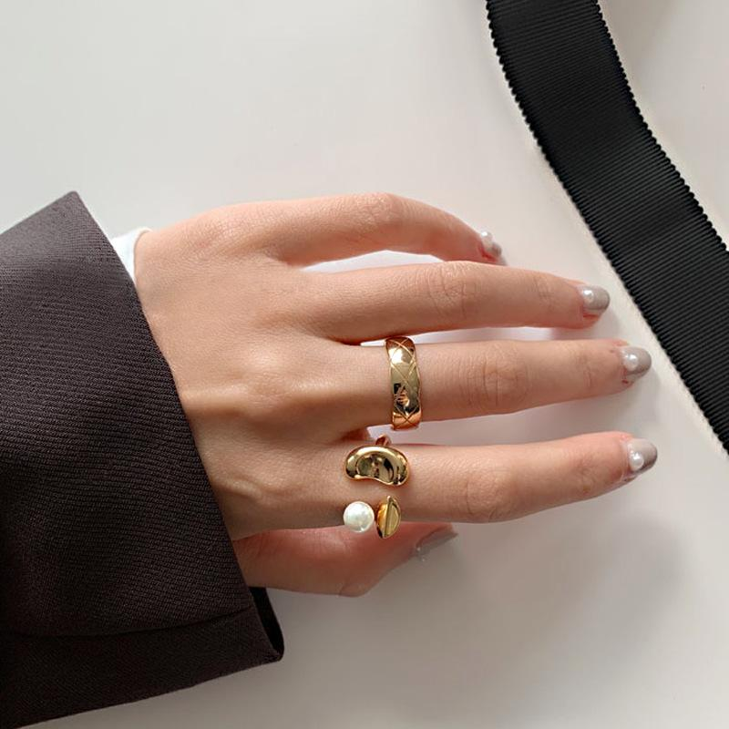 Korea's New Exquisite Geometric Simple Index Finger Ring Fashion Temperament Versatile Open Ring Elegant Women's Jewelry