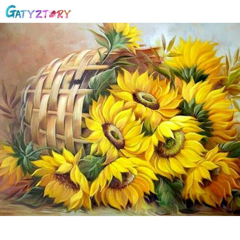 Paintings GATYZTORY 60x75cm Frame DIY Painting By Numbers Kits Sunflowers Abstract Modern Home Wall Art Picture Flowers Paint