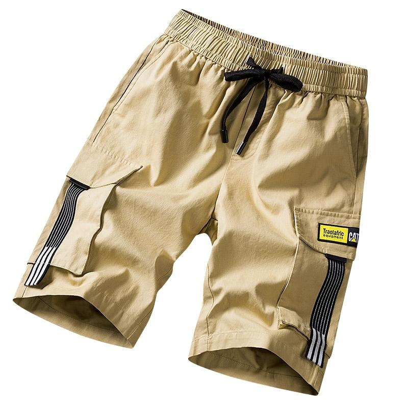 Streetwear Shorts Black Summer Moda Algodão Side Bolsos Bolsos Bermudas Masculino Elástico Cintura Elástica Calções de Carga Casuais Homens 210310