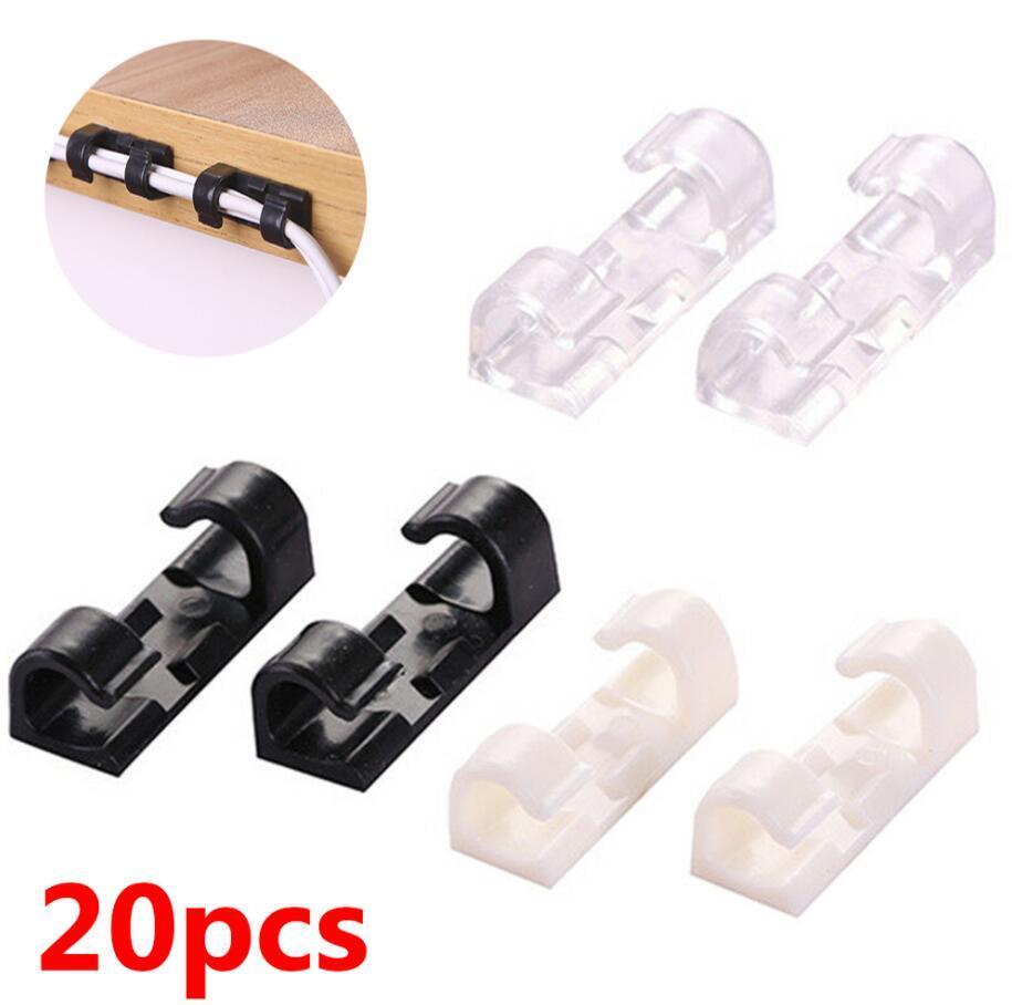 20pcs / 세트 케이블 와인 더 클립 접착력 충전기 걸쇠 책상 와이어 코드 이어폰 전화선 타이 해결사 USB 주최자 클립 홀더 GWD5375