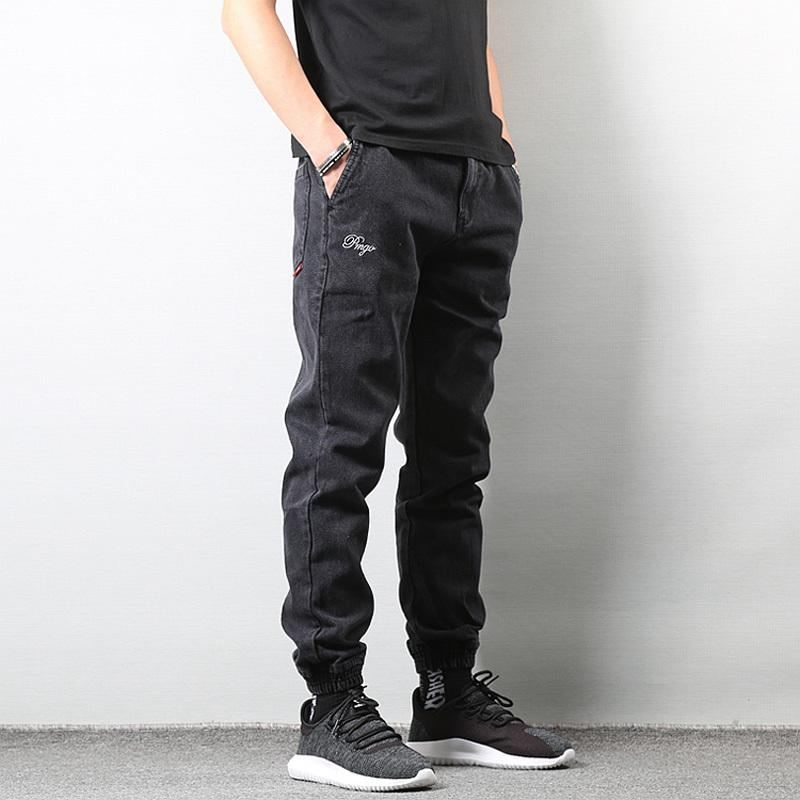 Fashion Japanese Men's Style Jeans Black Color High Street Loose Fit Cargo Pants Elastic Ankle Banded Hip Hop Jogger Jeans Men Q0128