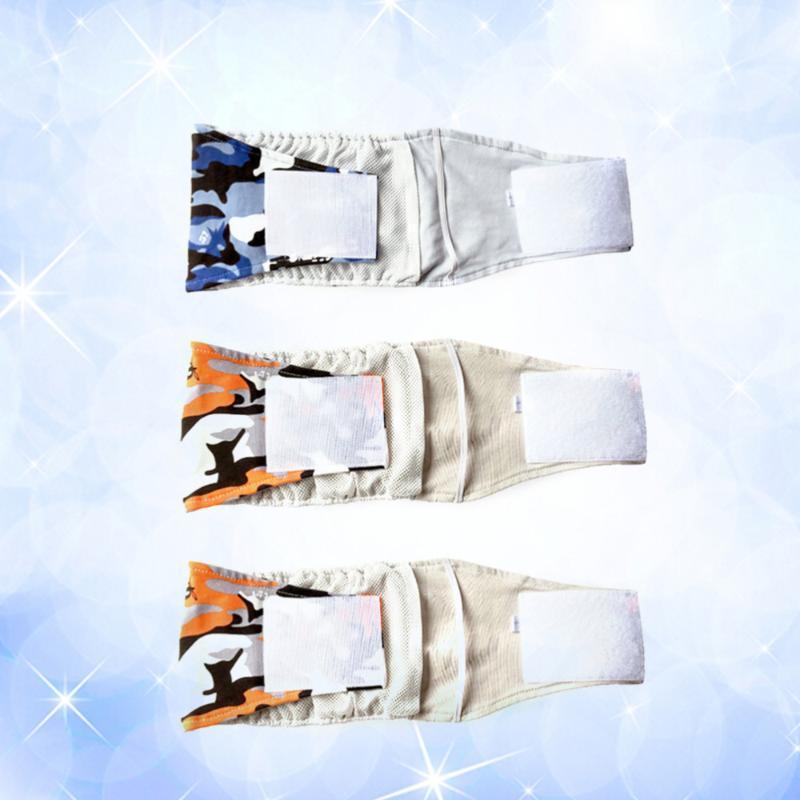 Hundebekleidung 3 stücke männliche haustier bauch wickel band windel windelhose pants welpen sanitäre unterwäsche - Größe s (zufälliges Muster)