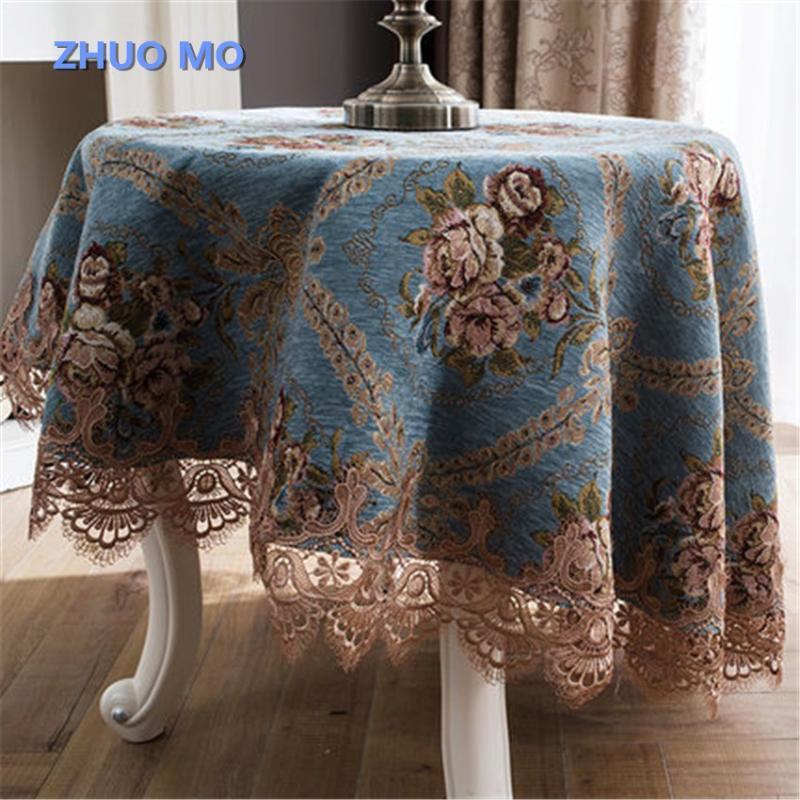 Avrupa tarzı masa örtüsü ile dantel lüks jakarlı düğün doğum günü partisi yuvarlak masa örtüsü masası bezi ev dekor için