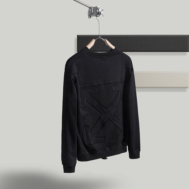 Оу белые вышитые пэчворк стрелка круглые шеи свитер любители мужчин и женщин хип-хоп топ чистый хлопок модный бренд свободный