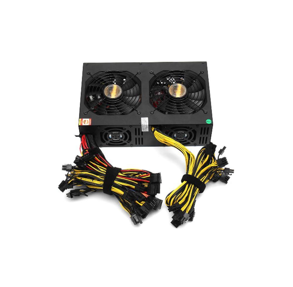 RTX3090 Miner Alimentation 3450W Ventilateur de refroidissement double ATX PSU 3080TI / 12GPU cartes