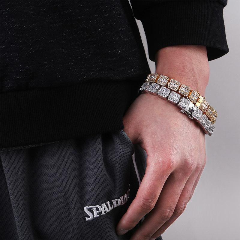 Hip Hop Jewelry Mens Bracelets Diamond Tennis Bracelet Bling Bangle Iced Out Chains Charms Gold Silver Rapper Fashion Jewelry