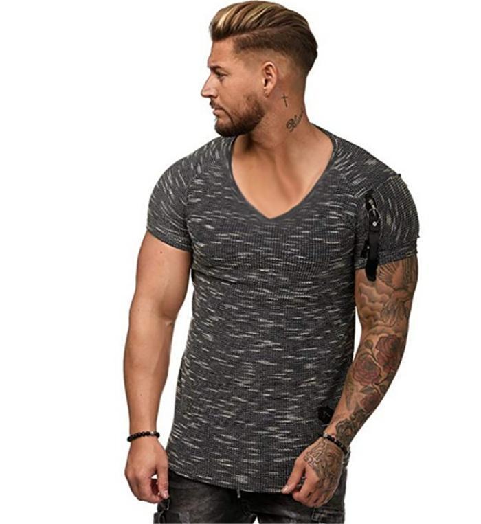 Novo V-decote Zipper Fitness Mens Causal t - shirts Verão Sólida Cor 3 Cores Opção Masculino Designer Loose Tops Esporte Tees