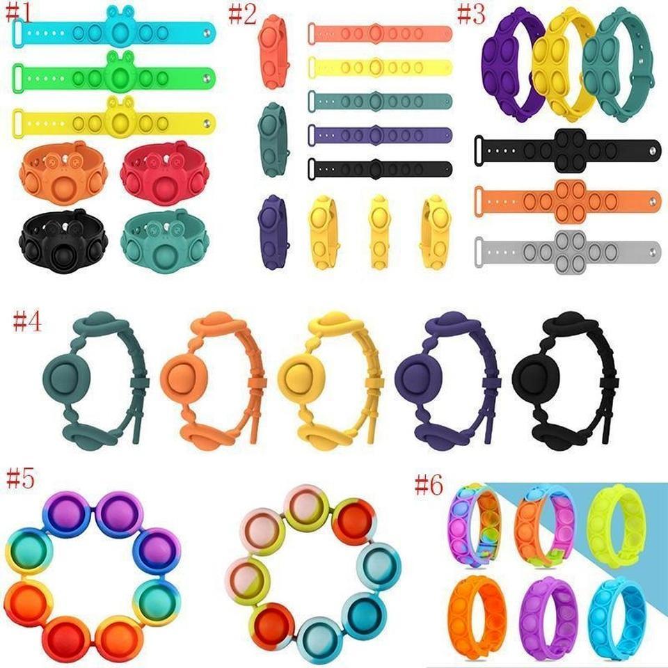 İtme kabarcık pop fidget oyuncaklar duyusal yüzük bilezikler bulmaca basın parmak kabarcıkları stres bilezik bileklik dekompresyon oyuncak
