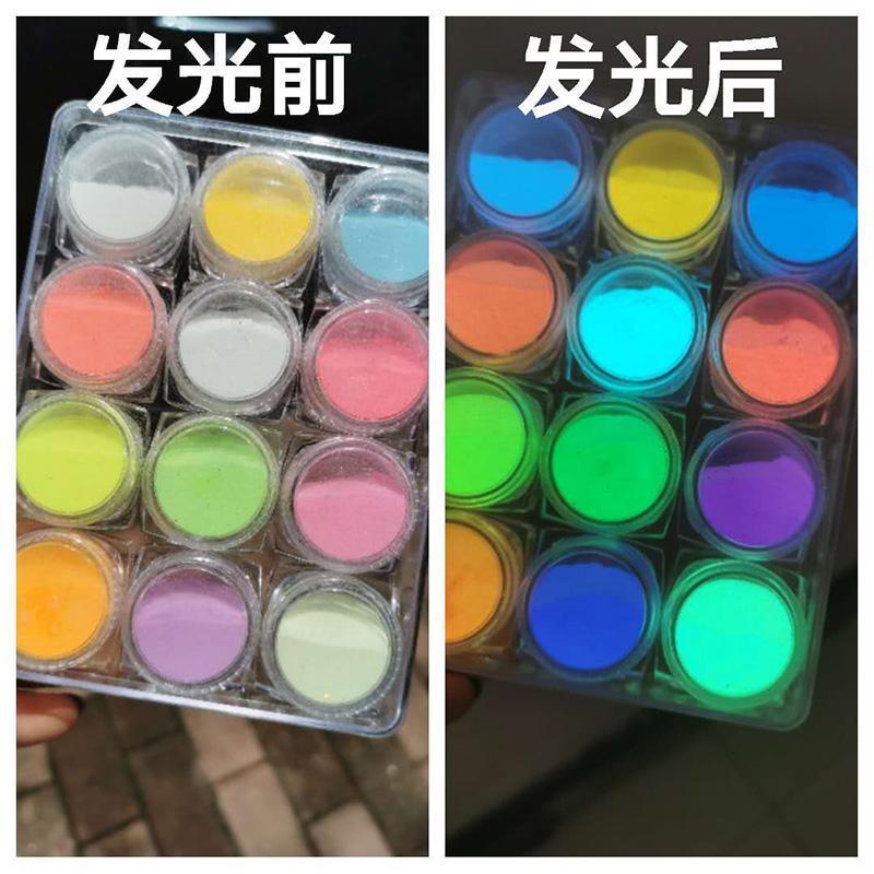 Luminous pó pó brilha no colourant escuro seguro para artesanato diy, maquiagem, sombra, lábio, corpo, nail art fosforescente powde