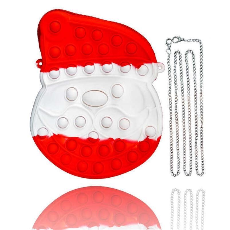 Christmas Xmas Fidget Sensory Finger Toys Santa Claus Chian Bag Kids Gifts Push Pop Bubble Puzzle Crossbody Fanny Pack Cartoon Purses Silicone Rubber Bags G83NG07