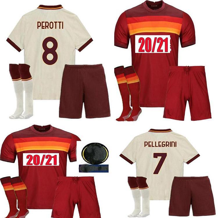 2020 2021 Roma el Shaarawy Dzeko Jersey de football adulte Kit complet 20/21 Pastoire PeroTti Totti De.Rossi Camisetas Chemise de football Kits + Chaussettes