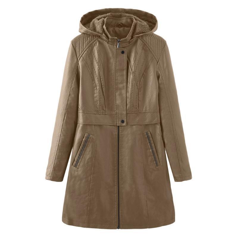 Chaquetas de mujer 2021 Moda Abrigo largo Faux Cuero con capucha con capucha Ocio de invierno de ocio y mantenga calientes Outwears # 3