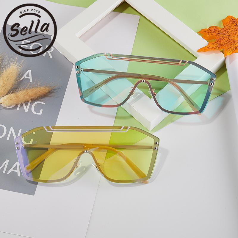 Солнцезащитные очки Salea Мода Мужчины Женщины Негабаритные Один кусок Объединенные Очки Очки Прозрачный объектив