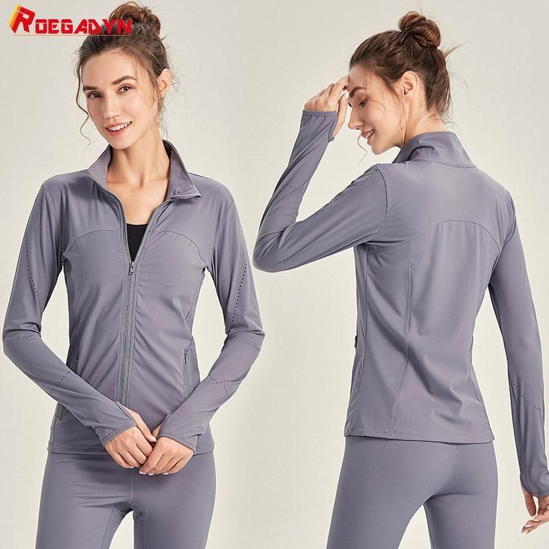 Vestes de course Roegadyn Sports Top Yoga Femme Jerseys Femme Manches longues Femmes Sportswear Jacket Sport Femmes