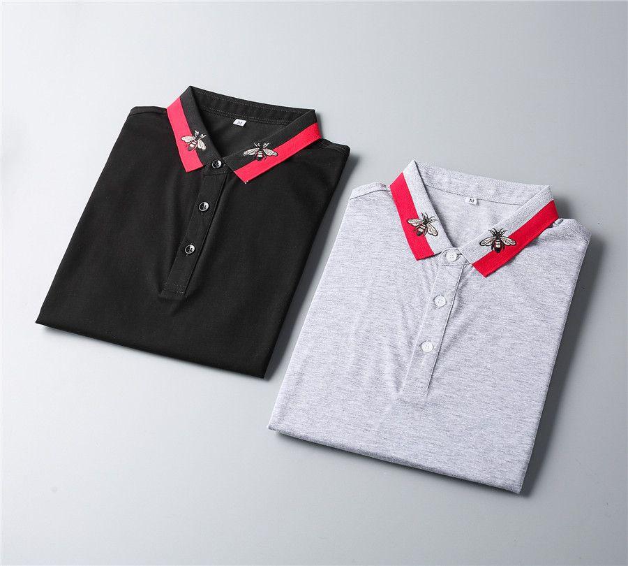 Дизайнерские рубашки поло роскошные повседневные мужчины футболка змея пчела писем печать вышивка мода High Street Mens Polosm-3XL
