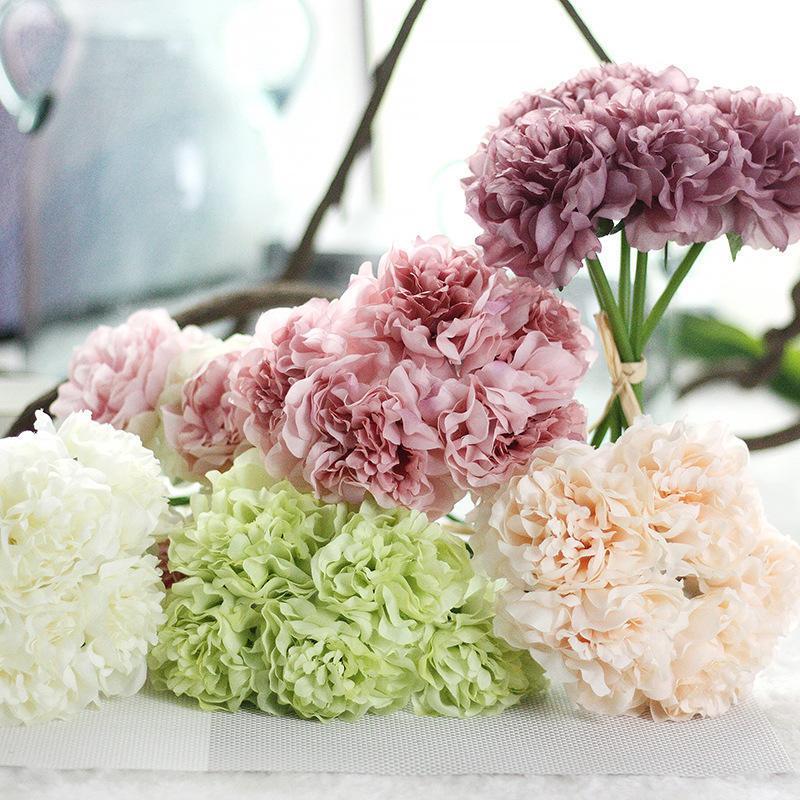 Holding Flowers Flores artificiales DIY 5 Cabezas de flores Decoración para el hogar Hydrangea Pascua Pensión Artificial Peony Silk