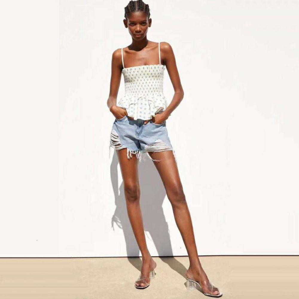 Nueva Llegada Dropship New Fashion Polka Dot Imprimir Casual Sling Blusa Blusa Camisas Mujeres Atrás Virutas Elásticas Tops XS - L Z12H